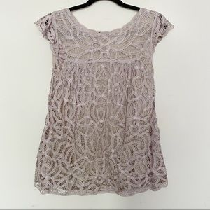 By Francine   Lace Overlay Nude Cap Sleeve Top